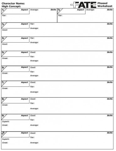Download FATE 1 Worksheet - Phasenarbeitsblatt