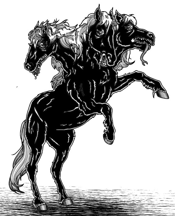 Dreiköpfiges-Pferd